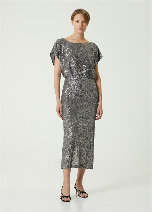 Silver Payetli Midi Abiye Elbise