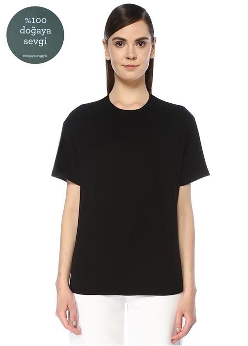 Siyah Düşük Kol Basic T-shirt