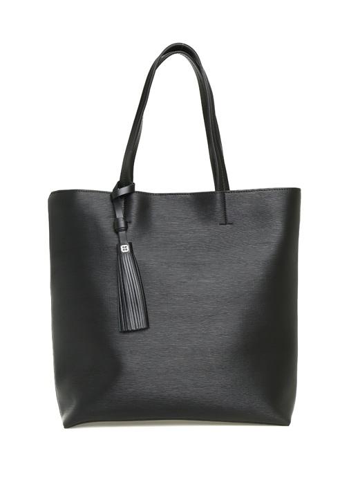 Aden Siyah Logolu Kadın Alışveriş Çantası