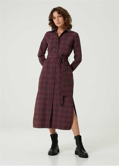 Bordo Beli Kuşaklı Midi Elbise