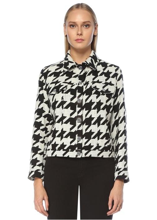 Siyah Beyaz Kazayağı Desenli Tweed Ceket