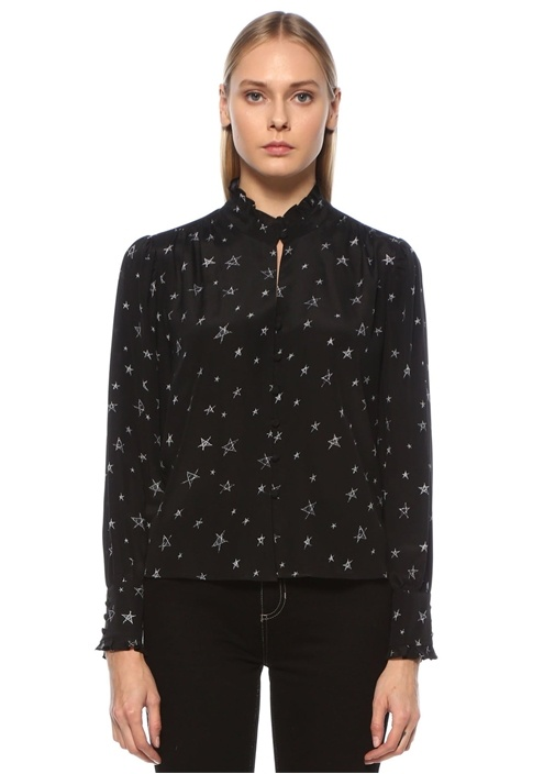Siyah Yakası Fırfırlı Yıldız Desenli İpek Gömlek