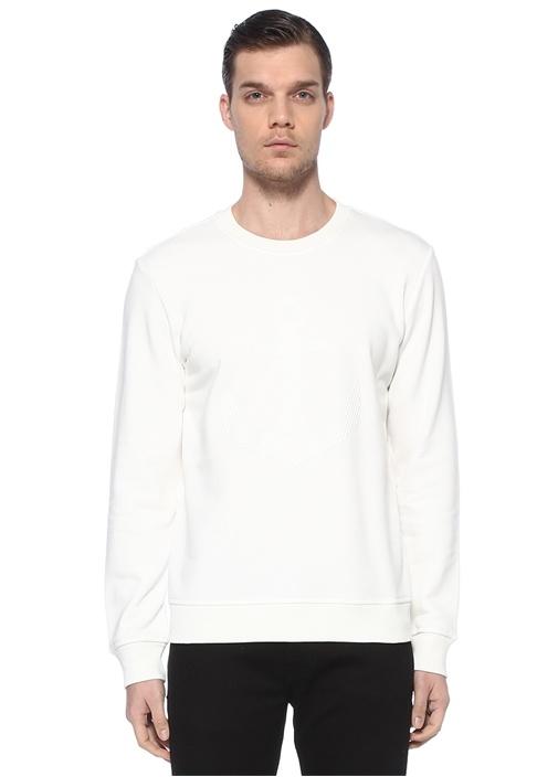 Beyaz Kabartma Çapa Baskılı Sweatshirt