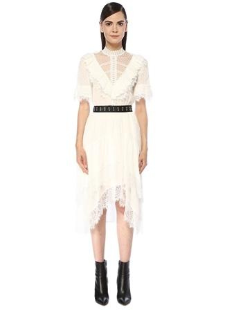 The Kooples Kadın Beyaz Garnili Asimetrik Midi Elbise Bej 0 US