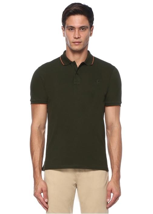 Comfort Fit Haki Polo Yaka Şerit Detaylı T-shirt