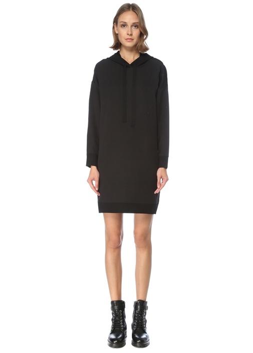 Siyah Kapüşonlu Mini Triko Elbise