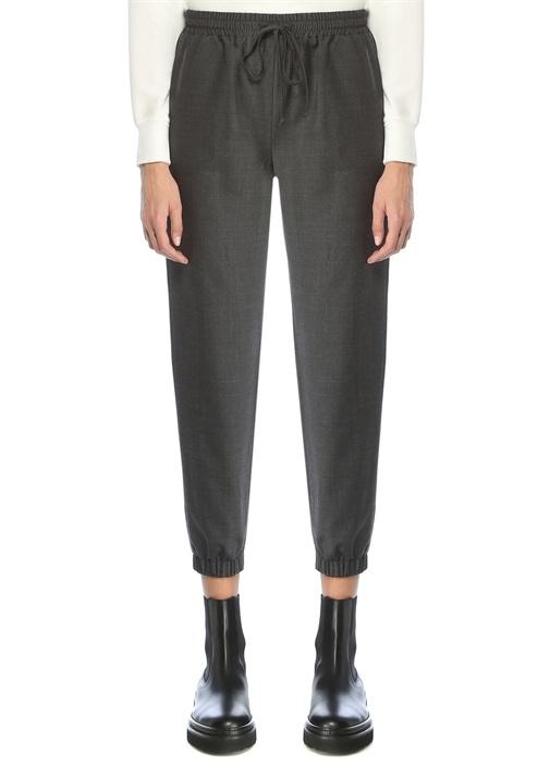 Koyu Gri Beli Bağcıklı Flanel Pijama Pantolon