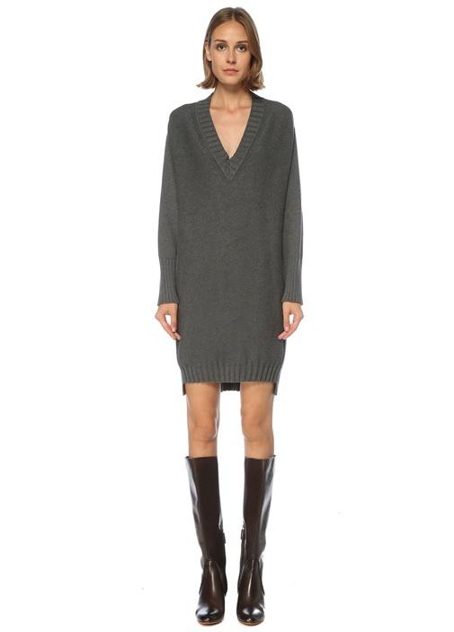 Antrasit V Yaka Mini Triko Elbise
