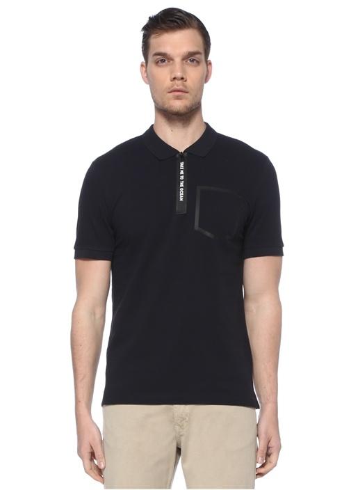 Siyah Polo Yaka Slogan Baskılı T-shirt