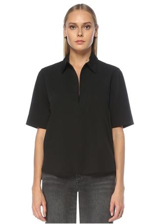 Beymen Club Kadın Siyah Polo Yaka Twill Dokulu Bluz XS