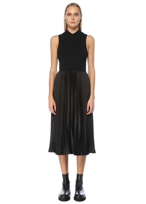 Siyah Dik Yaka Garnili Midi Elbise