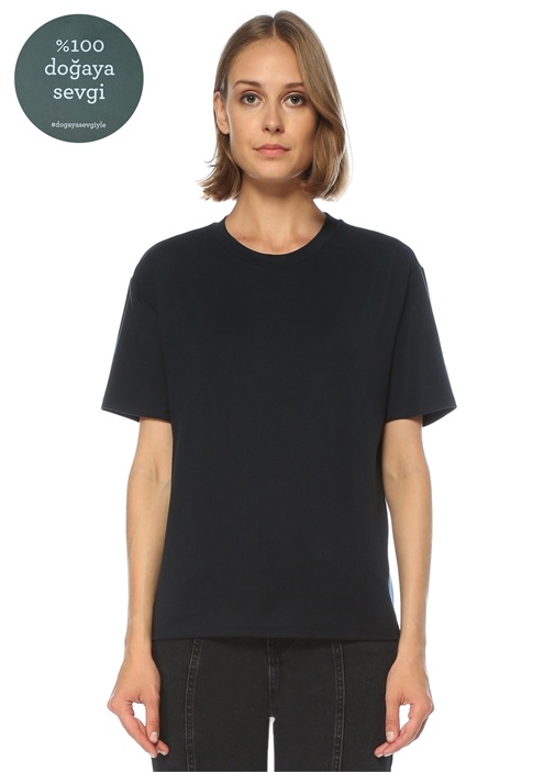Lacivert Düşük Kol Rahat Kesim T-shirt