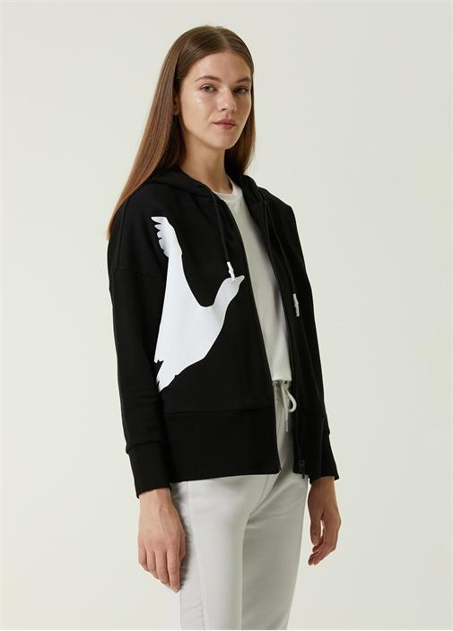 Siyah Kapüşonlu Kontrast Logolu Sweatshirt