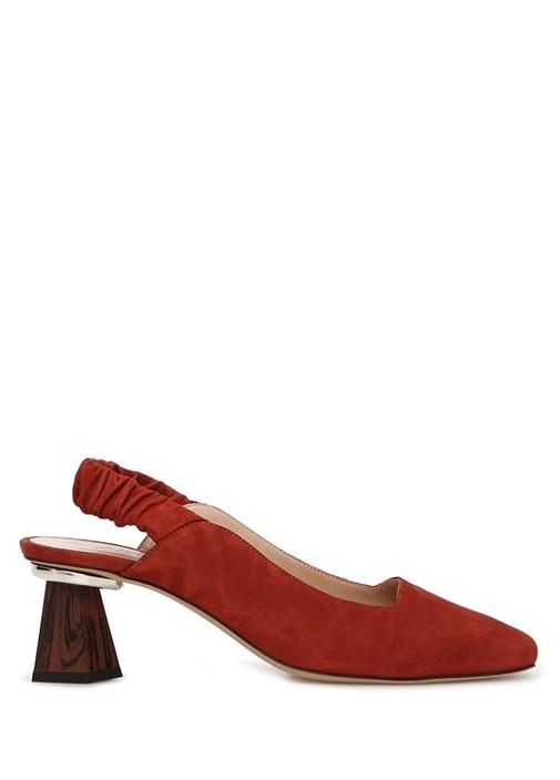 Kiremit Topuk Detaylı Kadın Süet Ayakkabı