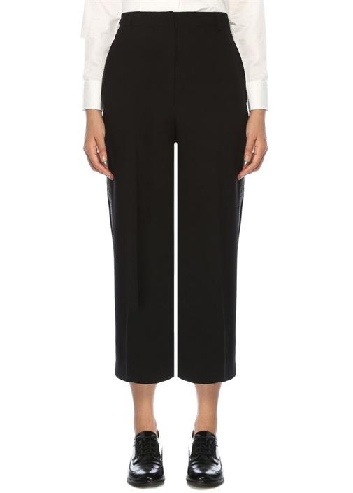 Siyah Yanı Şerit Detaylı Krep Pantolon