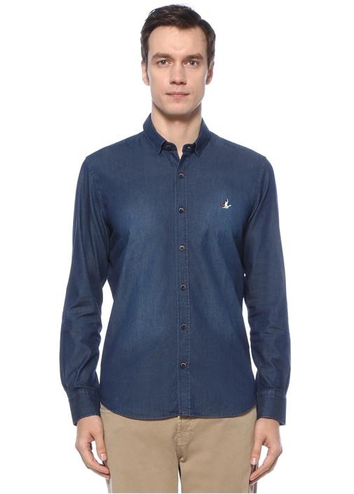 Slim Fit Mavi Denim Gömlek
