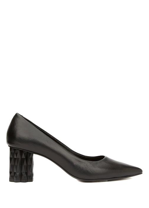 Siyah Topuk Detaylı Kadın Deri Ayakkabı