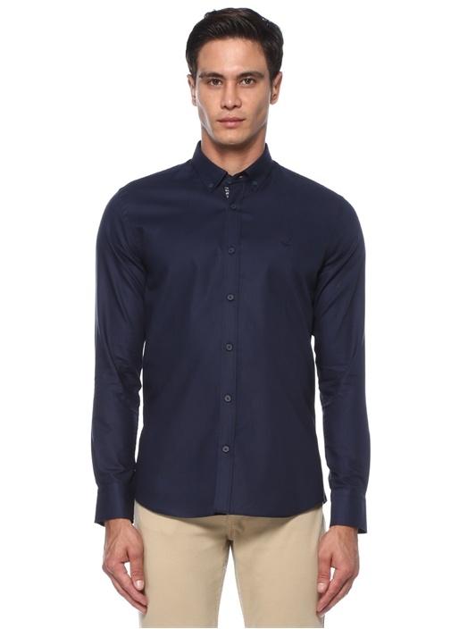 Lacivert Polo Yaka Reflektif Şeritli Gömlek