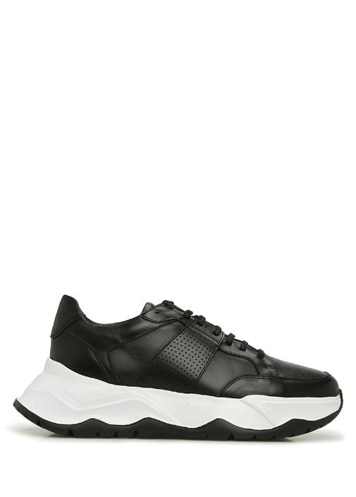 Siyah Beyaz Mikro Doku Detaylı Erkek Deri Sneaker