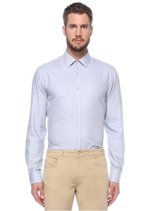 Comfort Fit Mavi Mini Jakarlı Organik Gömlek