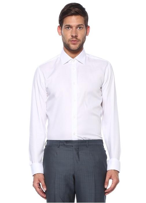 Slim Fit Noniron Beyaz Klasik Twill Gömlek