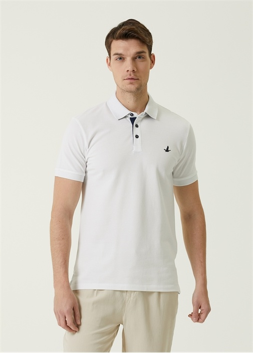 Slim Fit Beyaz Melanj Polo Yaka T-shirt