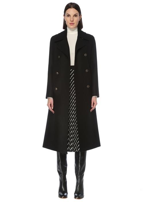 Siyah Kelebek Yaka Twill Dokulu Uzun Yün Palto