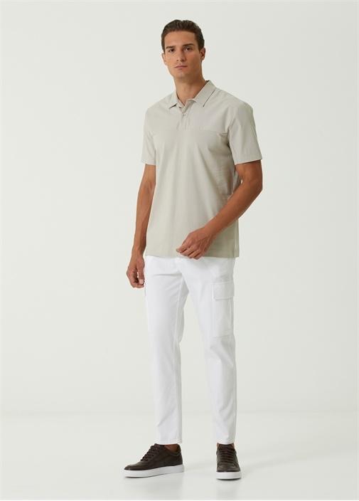 Beyaz Gabardin Dokulu Kargo Pantolon