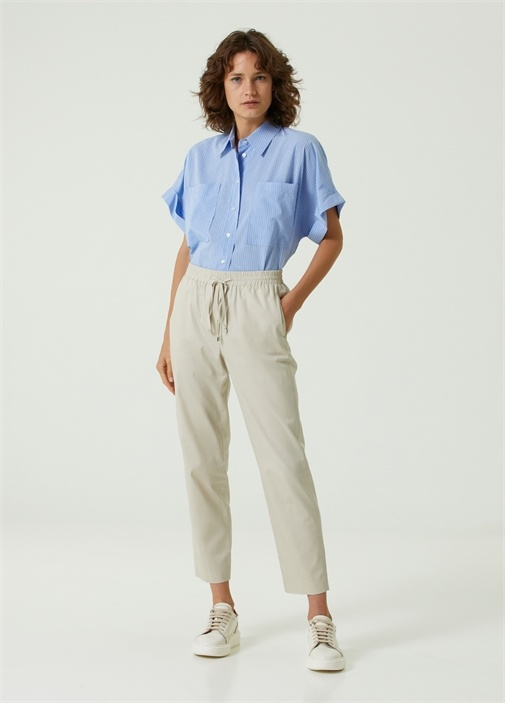 Bej Beli Kordonlu Pantolon