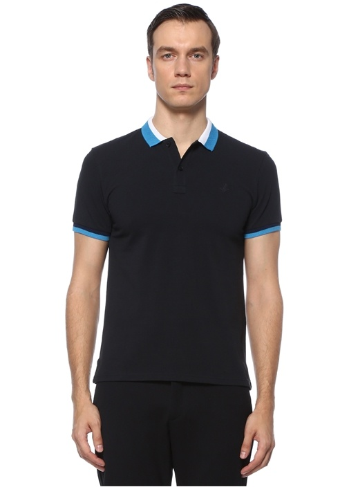 Slim Fit Lacivert Çizgi Detaylı Polo Yaka T-shirt