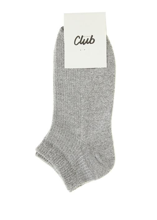 Gri Sim Dokulu Kadın Çorap