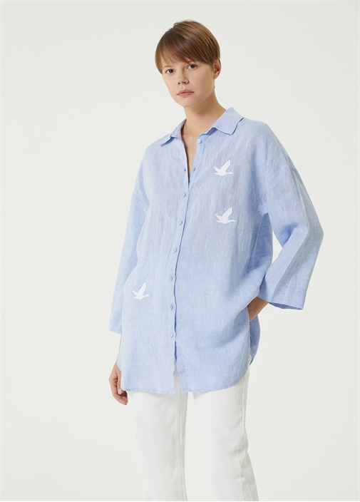 Mavi Polo Yaka Kuş Nakışlı Keten Gömlek