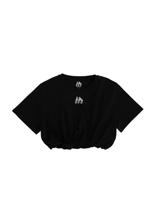Fifty Pieces Kadın Siyah Logo Nakışlı Beli Lastikli Crop T-shirt EU female