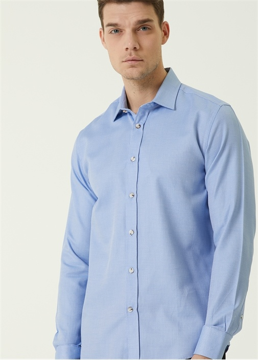 Slim Fit Mavi İtalyan Yaka Armürlü Gömlek