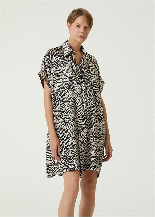 Bej Zebra Desenli Mini Gömlek Elbise