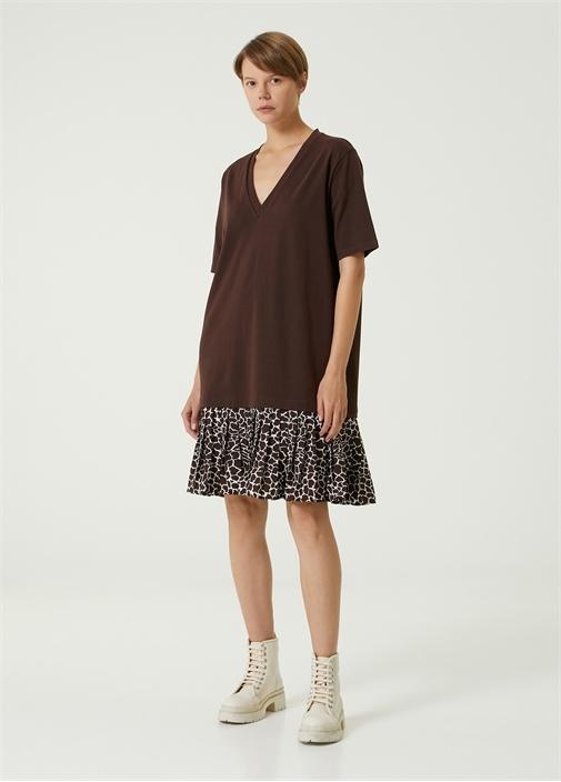 Kahverengi Etek Ucu Desenli Mini Jersey Elbise