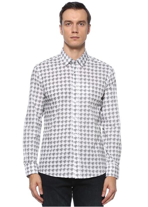 Slim Fit Beyaz Kazayağı Desenli Gömlek