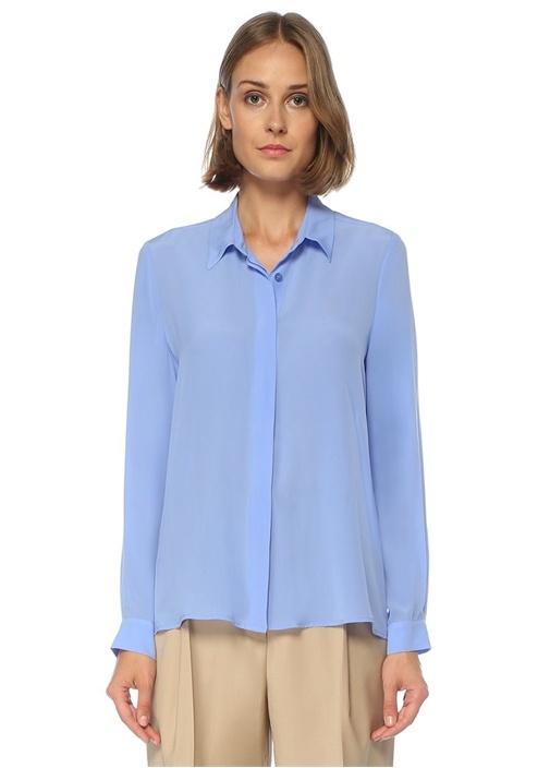 Mavi Önü Kısa İpek Gömlek
