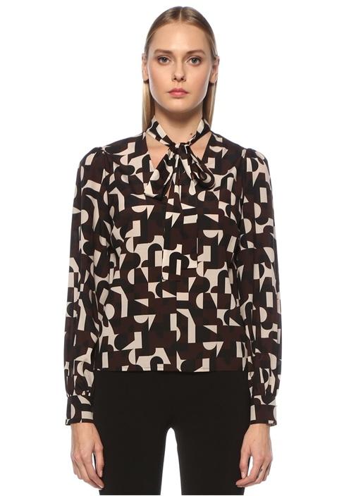 Kahverengi Yakası Fularlı Desenli İpek Bluz