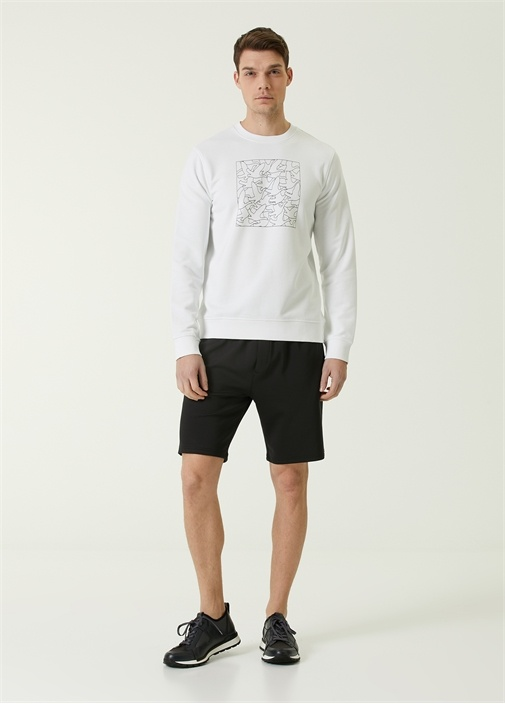 Beyaz Monogram Kabartmalı Logolu Sweatshirt