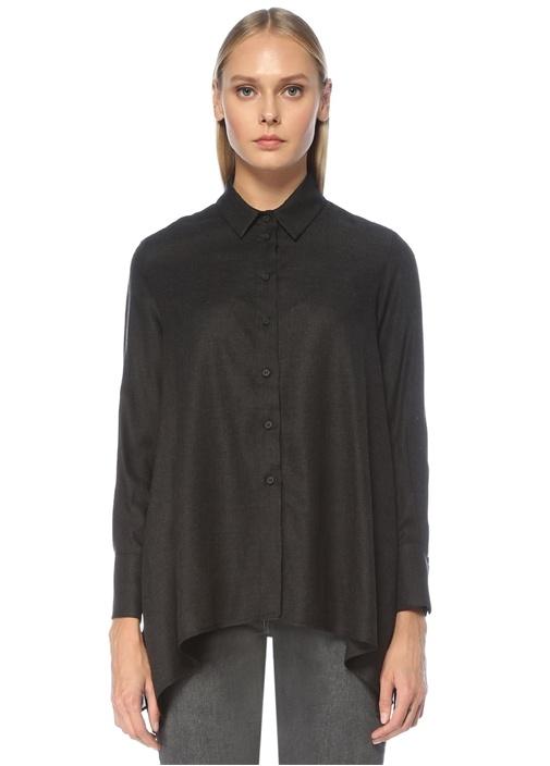 Siyah Mendil Formlu İnce Flanel Gömlek