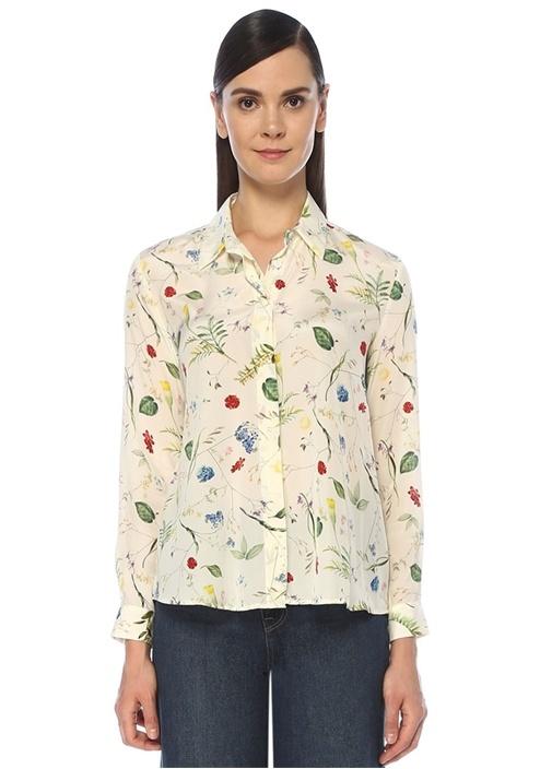 Beyaz Çiçek Desenli İpek Gömlek