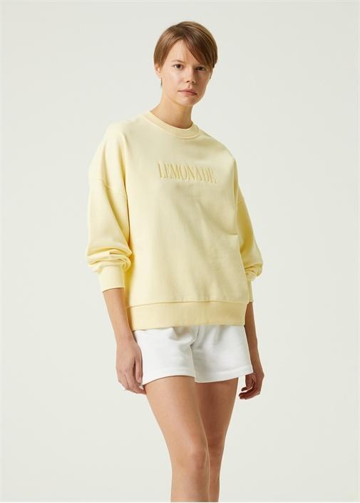 Sarı Lemonade Nakışlı Bol Sweatshirt
