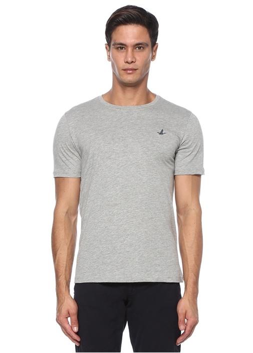 Gri Melanj Logo Detaylı Basic T-shirt