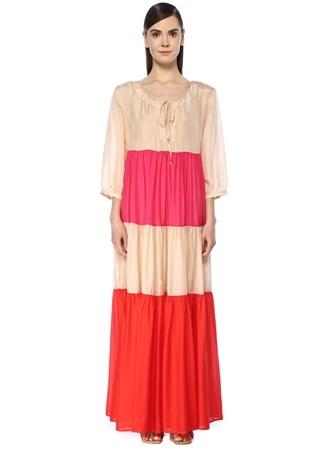 Bird & Knoll Kadın Evie Colorblock Yakası Bağcıklı Maksi Elbise Kırmızı S EU