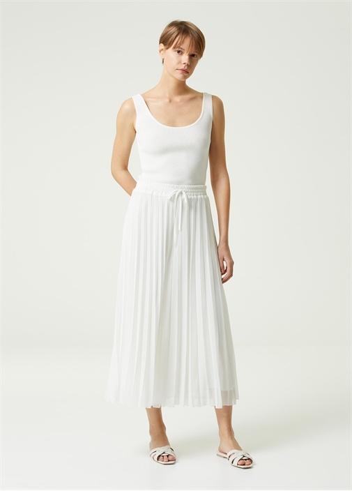 Beyaz Pilili Etek Formlu Şifon Pantolon