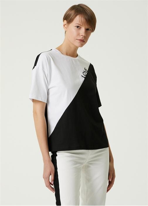 Siyah Beyaz Bisiklet Yaka Baskılı T-shirt