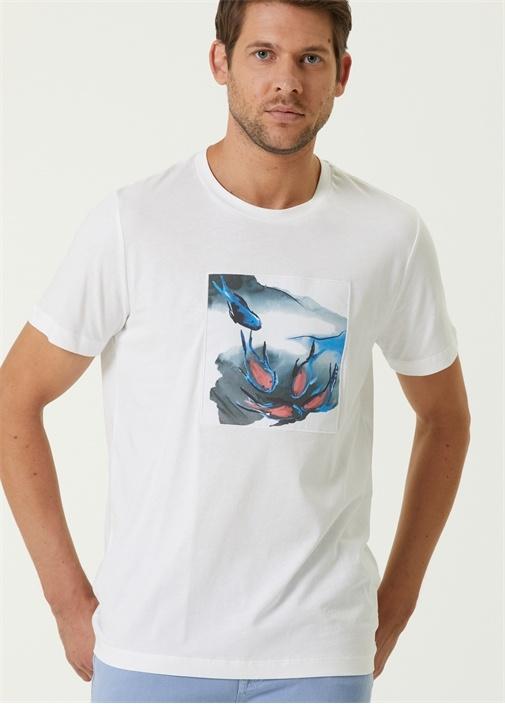 Beyaz Balık Aplikeli T-shirt