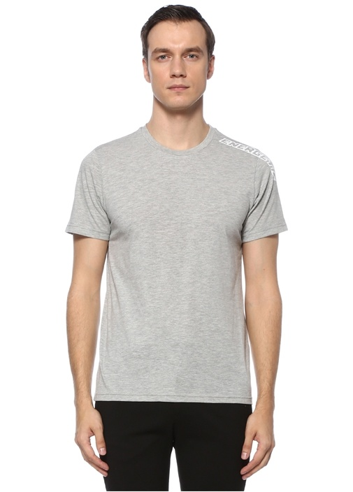 Gri Slogan Baskılı T-shirt