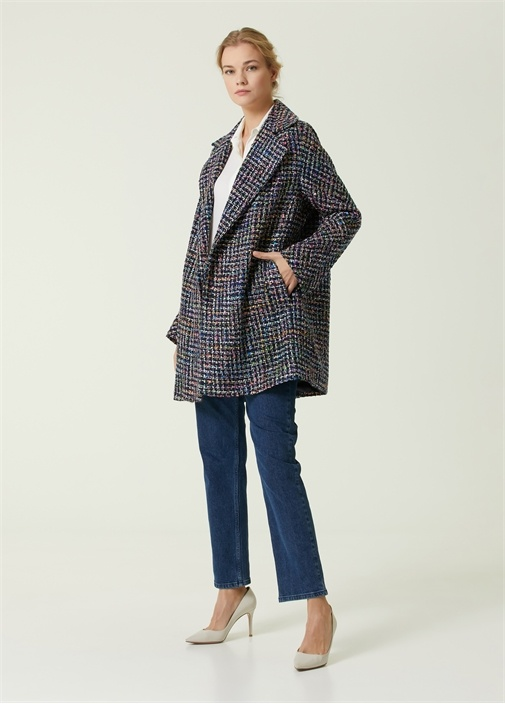 Lacivert Tweed Kaban